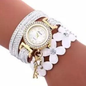 Accessories - White Diamond Leather Wrist Watch